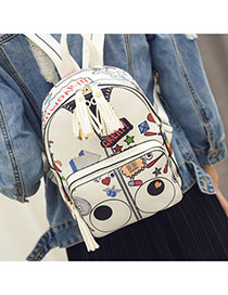 Fashion White Cartoon Eyes Pattern Decorated Tassels Design Pu Backpack