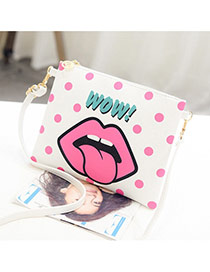 Personality Pink Cartoon Mouth Pattern Decprated Square Shape Design Pu Shoulder bags