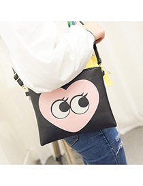 Personality Black Heart & Eye Pattern Decprated Square Shape Design Pu Shoulder bags