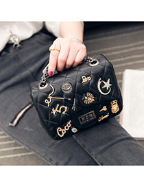 Fashion Black Digital Pattern Decorated Simple Design Pu Shoulder bags