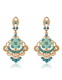 Fashion Blue Diamond Decorated Flower Shape Hollow Out Design