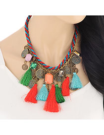 Vintage Multicolor Coin & Diamond Decorated Tassels Design Fabric Bib Necklaces