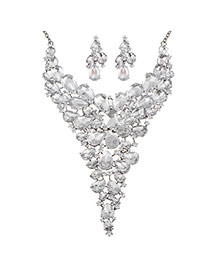 Luxury White Hollow Out &diamond Decorated Y Shape Design Alloy Jewelry Sets