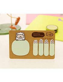 Lovely Green Cartoon Pattern Simple Design Paper Stickers Tape Paper Scratch Pad Sticky