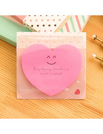 Lovely Plum Red Smile Pattern Heart Shape Design Paper Stickers Tape Paper Scratch Pad Sticky