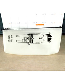 Lovely White Guard Pattern Decorated Simple Design Gellly Glue Pencil Case