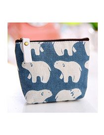 Sweet Blue+white Bear Pattern Decorated Simple Design Fabric Wallet