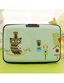 Lovely Green Owl Pattern Decorated Square Shape Design Plastic Household goods