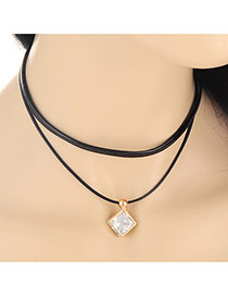 Trendy Gold Color Square Shape Decorated Double Layer Design