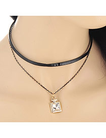 Trendy Gold Color Square Pendant Decorated Double Layer Design