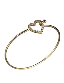 Fashion Gold Color Heart Diamond Decorated Simple Design Alloy Fashion Bangles