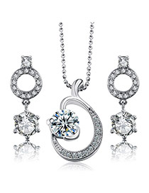 Fashion Silver Color Diamond Decorated Fishtail Shape Design Alloy Jewelry Sets
