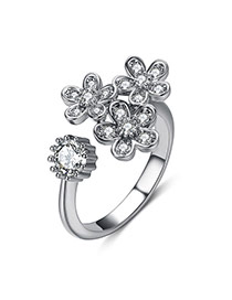 Personality Silver Color Flower Shape Decorated Opening Design Alloy Korean Rings