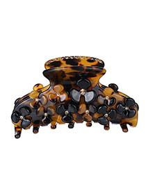 Elegant Coffee Flower&diamond Decorated Simple Design Acrylic Hair clip hair claw