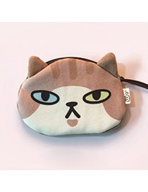 Lovely Brown Cartoon Cat Pattern Decorated Simple Design Plush Wallet