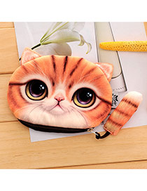 Lovely Yellow Cartoon Cat Pattern Decorated 3d Design Plush Wallet