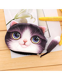 Lovely Purple Cartoon Cat Pattern Decorated 3d Design Plush Wallet