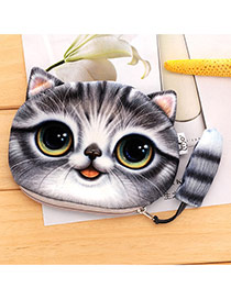 Lovely Gray Cartoon Cat Pattern Decorated 3d Design Plush Wallet