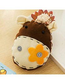 Lovely Brown Donkey&flower Decorated Simple Design Fabric Fashion Keychain