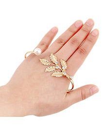 Sweet Gold Color Diamond&leaf Shape Decorated Opening Design Alloy Fashion Bangles