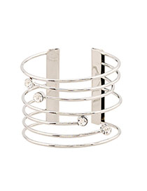 Fashion Silver Color Hollow Out Multilayer Decorated Opening Design Alloy Fashion Bangles