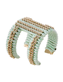 Elegant Green Beads Hand-woven Decorated Opening Design Alloy Fashion Bangles