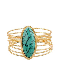 Exaggerate Blue Oval Gemstone Decorated Multilayer Design Alloy Fashion Bangles