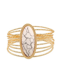 Exaggerate White Oval Gemstone Decorated Multilayer Design Alloy Fashion Bangles