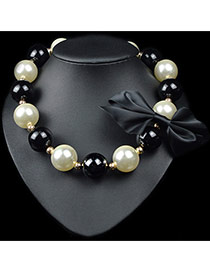 Exaggerate Black Bowknot Decorated Simple Design Alloy Bib Necklaces
