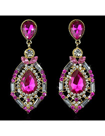 Luxury Pink Waterdrop Shape Diamond Decorated Simple Design Rhinestone Stud Earrings