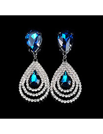 Luxury Peacock Blue Hollow Out Waterdrop Shape Diamond Decorated Simple Design Cz Diamond Stud Earrings