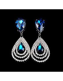 Luxury Peacock Blue Hollow Out Waterdrop Shape Diamond Decorated Simple Design Cz Diamond Stud Earrings