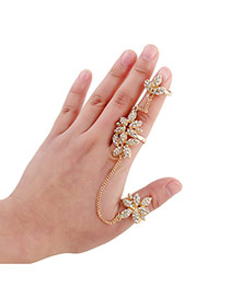 Sweet Gold Color Flower Shape Decorated Opening Design Alloy Korean Rings