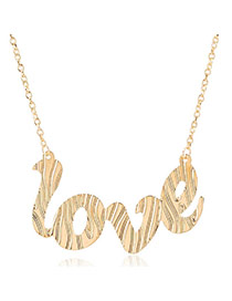 Elegant Gold Color Letter Love Pendant Decorated Simple Design