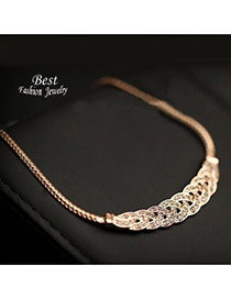 Elegant Gold Color Diamond Decorated Weaving Design Alloy Bib Necklaces