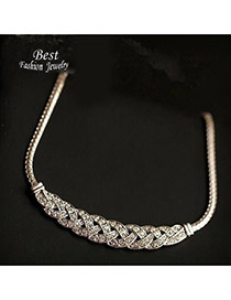 Elegant Silver Color Diamond Decorated Weaving Design Alloy Bib Necklaces