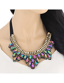 Exaggerate Multi-color Beads Hand-woven Decorated Collar Design Alloy Bib Necklaces
