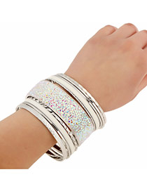 Fashion Silver Color Diamond Decorated Multilayer Design Alloy Fashion Bangles