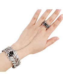 Vintage Anti-silver Flower&leaf Shape Decorated Simple Design Alloy Korean Fashion Bracelet