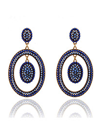 Elegant Sapphire Blue Full Gemstone Decorated Hollow Out Oval Design Alloy Stud Earrings