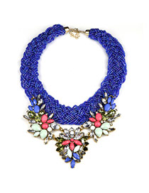 Fashion Sapphire Blue Geometric Diamond Decorated Collar Design Bead Bib Necklaces