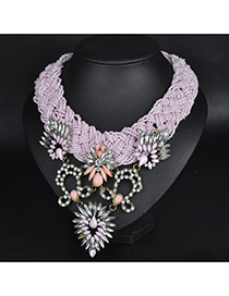 Vintage Pink Flower Pattern Decorated Short Chain Design Bead Bib Necklaces
