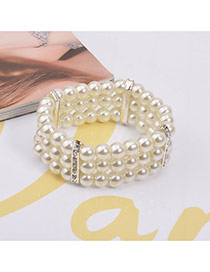Elegant Silver Color Diamond Wovening Decorated Multilayer Design Pearl Korean Fashion Bracelet
