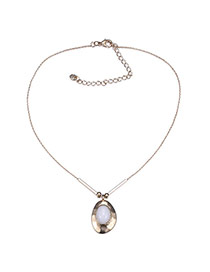 Fashion White Oval Stone Shape Decorated Simple Desgn Stone Bib Necklaces