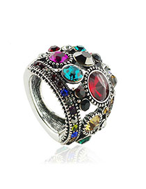 Vintage Silver Color Diamond Decorated Hollow Out Flower Shape Design Alloy Korean Rings