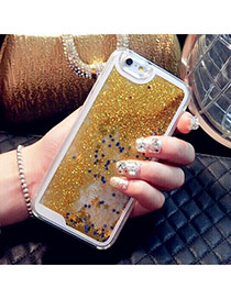 Fashion Yellow Quicksand Liquid Pattern Decorated Simple Design Plastic Iphone 5 5s
