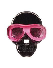 Fashion Pink Skull Shape Decorated Simple Design Acrylic Korean Rings