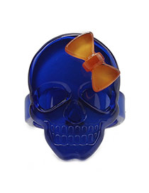 Fashion Loyal Blue Bowknot Shape Decorated Skull Design Acrylic Korean Rings