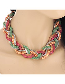 Exaggerated Pink&yellow Snake Shape Decorated  Collar Design Alloy Bib Necklaces