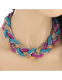 Exaggerated Purple&blue Snake Shape Decorated Short Collar Design